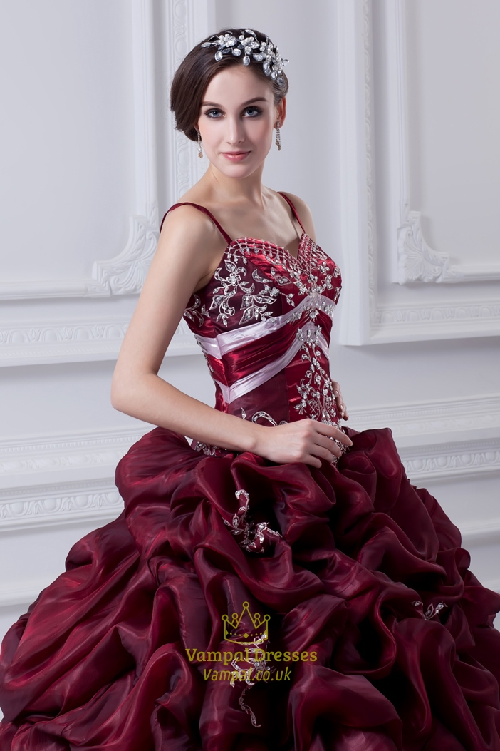 Burgundy Quinceanera Dresses With Straps And Embroidery Dark Red
