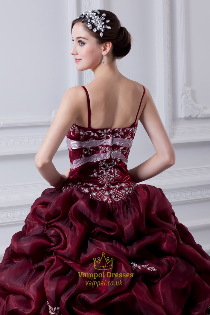 Burgundy Quinceanera Dresses With Straps And Embroidery