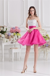White And Pink Cocktail Dresses,Stock White/Hot Pink Cocktail Dress
