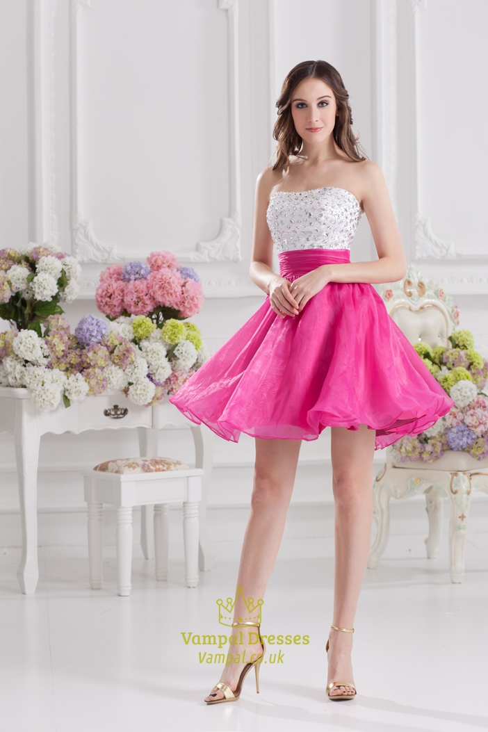 white and pink cocktail dresses stock white hot pink cocktail dress vampal dresses. Black Bedroom Furniture Sets. Home Design Ideas