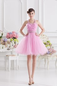 Short Pink Fluffy Prom Dress,Pink Halter Neck Top Dress