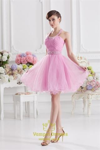 Pink Halter Top Prom Dresses 47