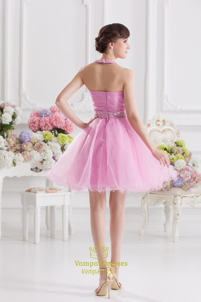 Short pink fluffy prom dress pink halter neck top dress for Short fluffy wedding dresses