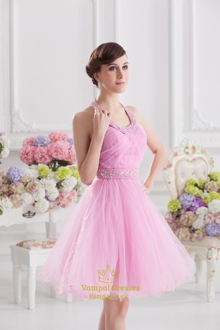 Short Pink Fluffy Prom Dress,Pink Halter Neck Top Dress | Vampal Dresses
