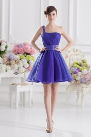 Blue One Shoulder Homecoming Dress ,Blue Fluffy Dresses For Girls