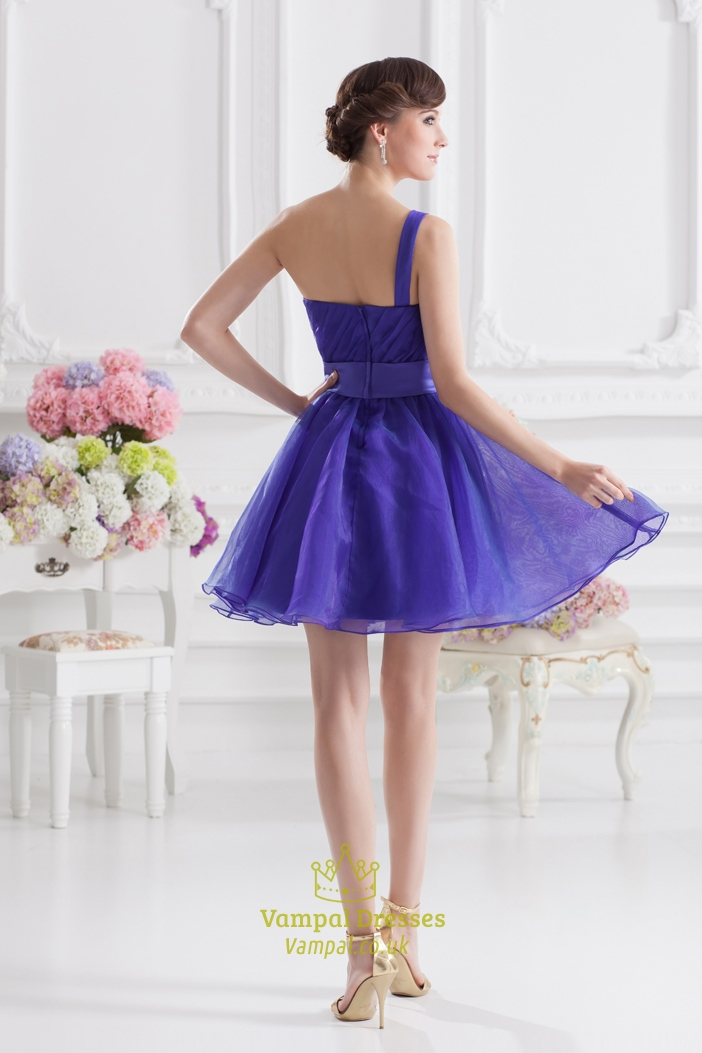 Blue one shoulder homecoming dress blue fluffy dresses for Short fluffy wedding dresses