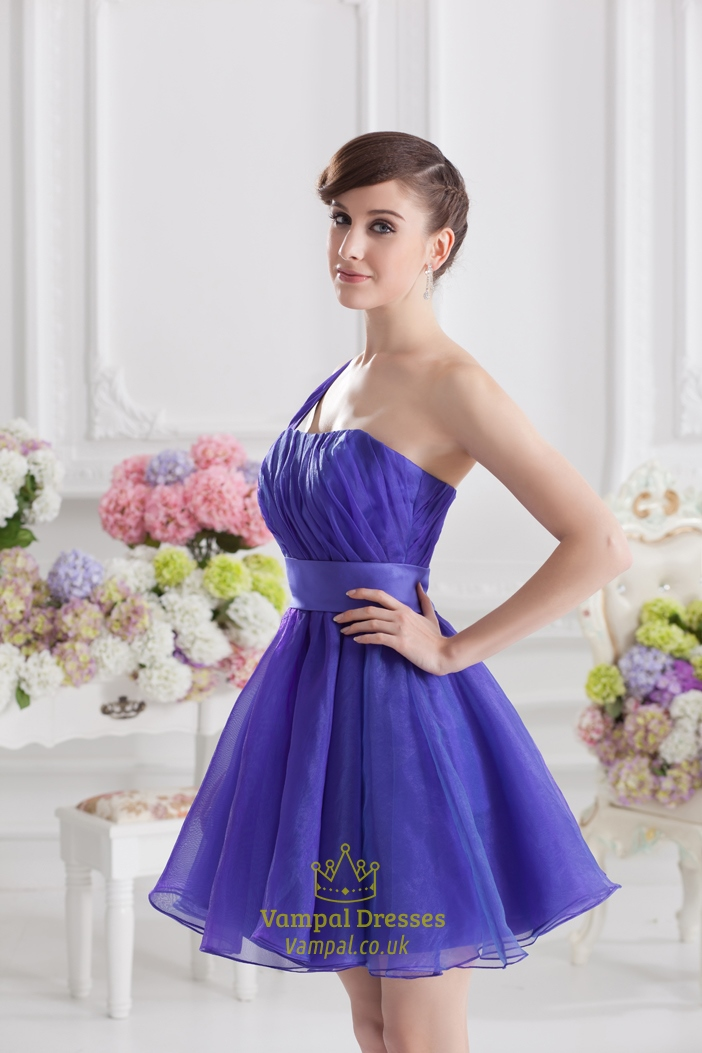 Blue One Shoulder Homecoming Dress Blue Fluffy Dresses