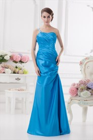 Blue One Shoulder Maxi Dress,Light Sky Blue Prom Dress 2019