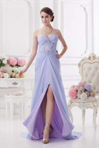 Pretty Long Light Purple Prom Dresses With Slits On The Side