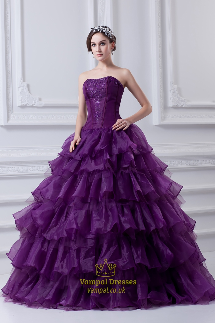 Purple Ball Gown Quinceanera Dresses,Purple Flowy Quinceanera ...
