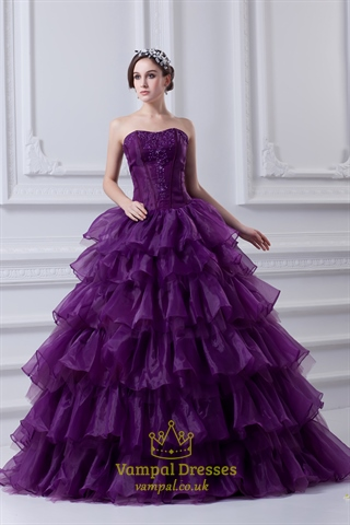 Purple Ball Gown Quinceanera Dresses Purple Flowy