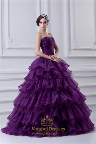 Purple Ball Gown Quinceanera Dresses Purple Flowy