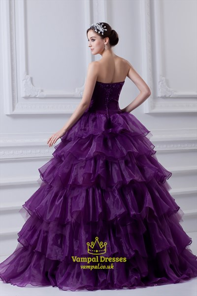 Purple Ball Gown Quinceanera Dresses,Purple Flowy Quinceanera Dresses For Damas