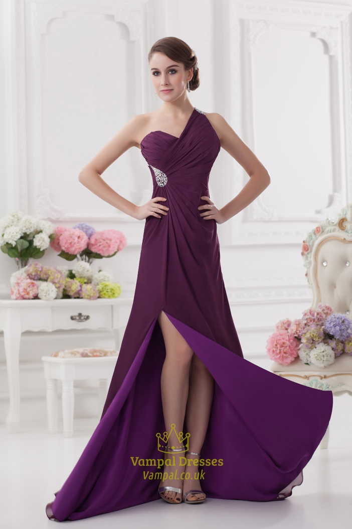 Purple One Shoulder Chiffon Dress One Shoulder Purple
