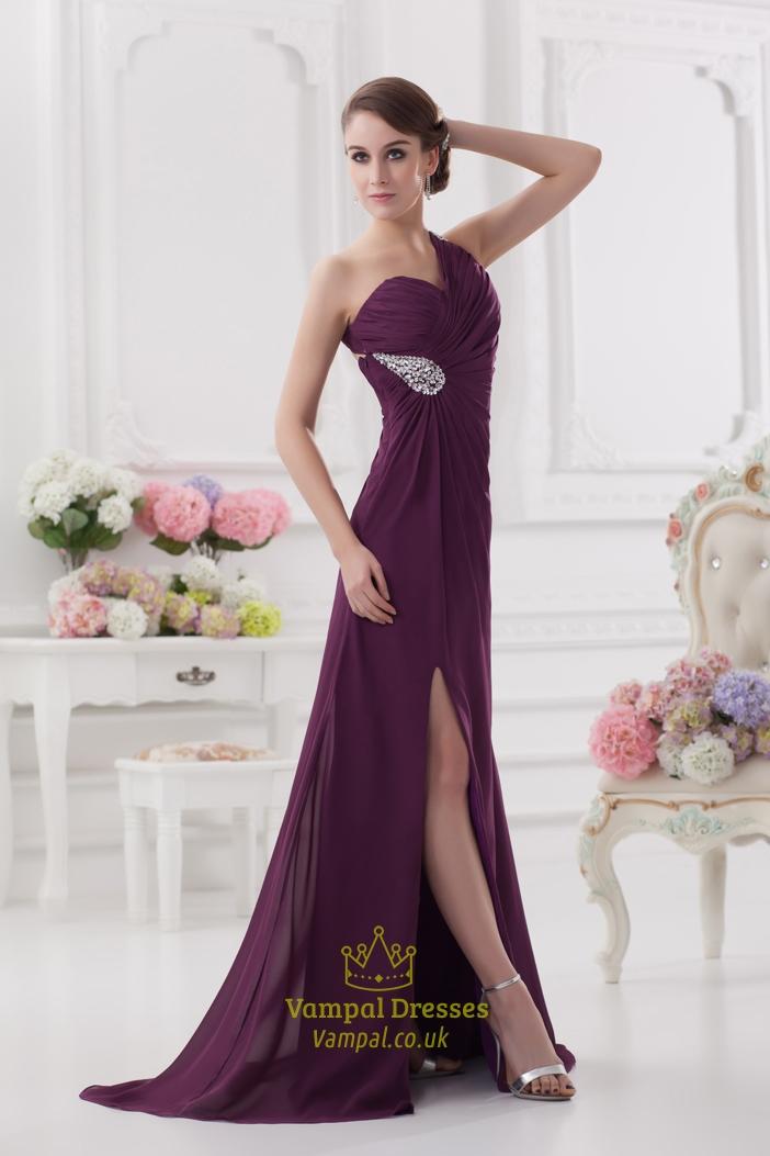Purple One Shoulder Chiffon Dress One Shoulder Purple