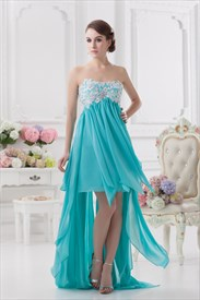Blue High Low Prom Dresses 2019,High Low Dresses Formal With Embroidery Top