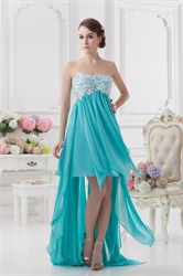 Blue High Low Prom Dresses 2018,High Low Dresses Formal With Embroidery Top