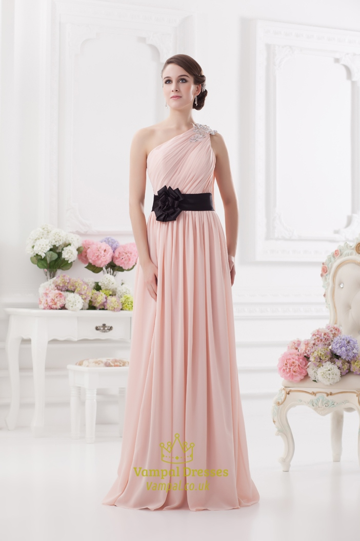 Light Pink One Shoulder Prom Dress ,One Shoulder Bridesmaid Dresses With Flower Detail