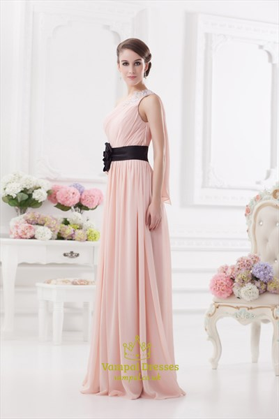 Light Pink One Shoulder Prom Dress ,One Shoulder Bridesmaid Dresses With Flower Detail