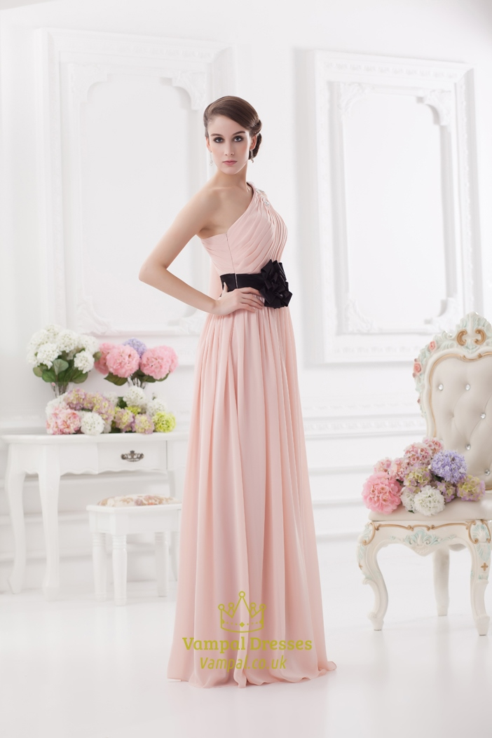light pink one shoulder prom dress one shoulder