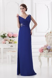 Royal Blue Chiffon Maxi Prom Dress,Long Sleeve V Neck Prom Dress