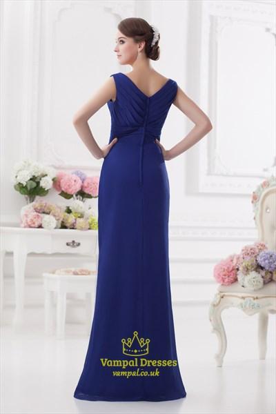 Royal Blue Chiffon Maxi Prom Dress,Long Sleeve V Neck Prom Dress