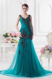 Low V Neck Prom Dresses With Black Embroidery,Jade Green Prom Dresses UK