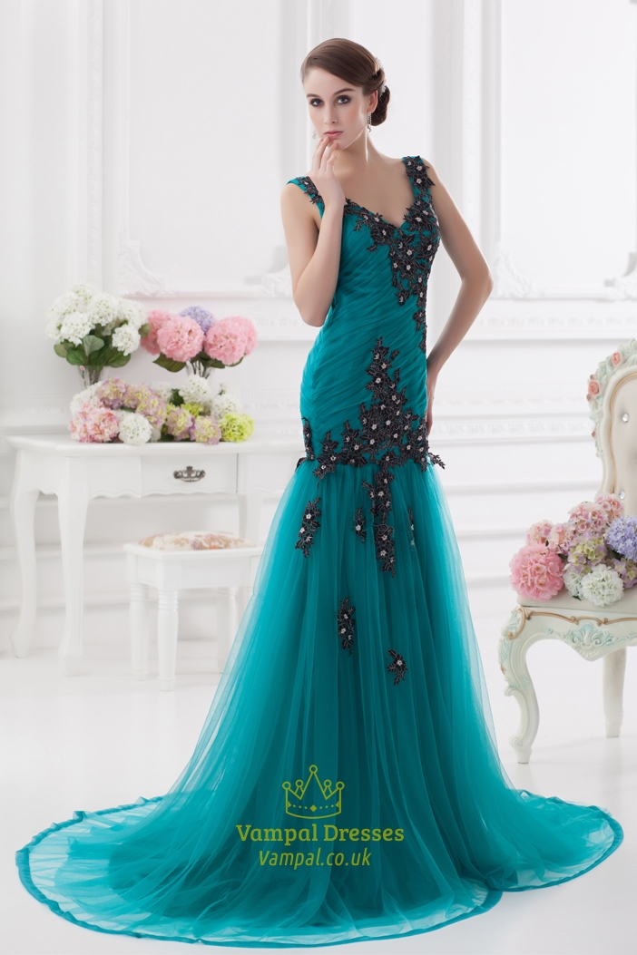 Low V Neck Prom Dresses With Black Embroidery,Jade Green Prom ...