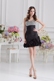 Little Black Sequin Cocktail Dresses,Black Dress With Sequins On Top