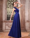 One Shoulder Chiffon Gown With Floral Appliques Style,One Shoulder Prom Dress