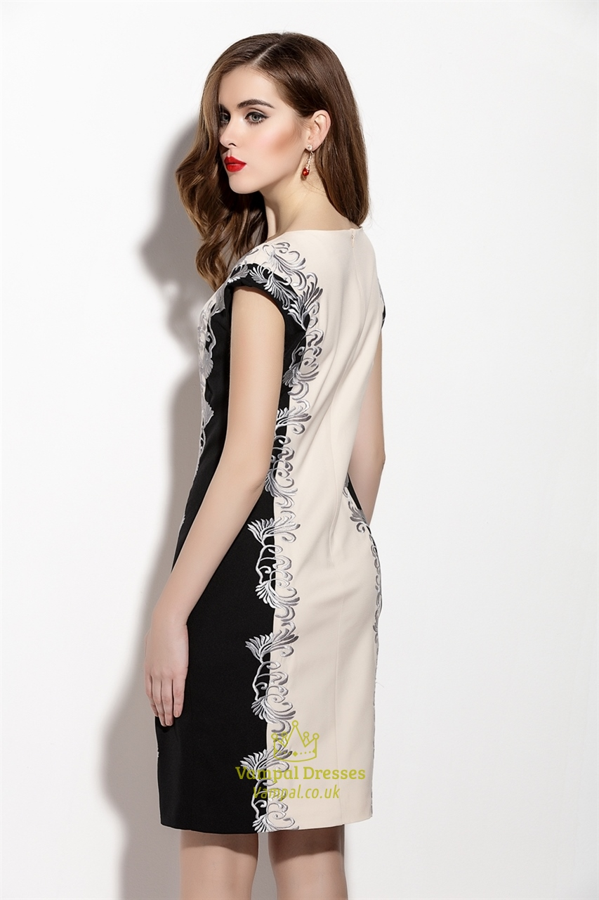 Champagne And Black Floral Print Sheath Dress With Cap