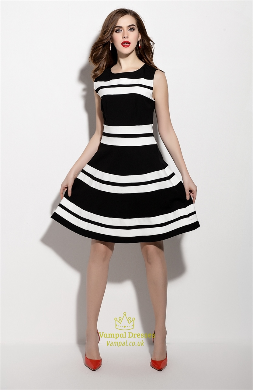 Black And White Sleeveless Fit And Flare Skater Dress