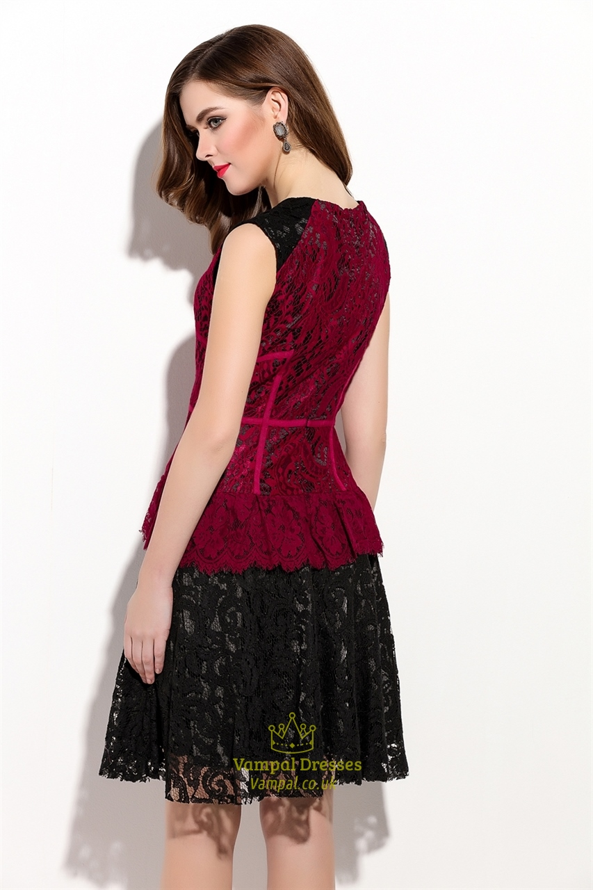 Sleeveless Cocktail Dresses Lace Overlay Dress Pattern Red And Black ...