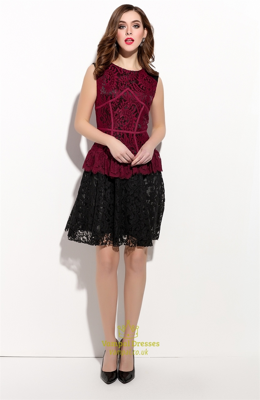 Red And Black Sleeveless Cocktail Dress With Lace Applique