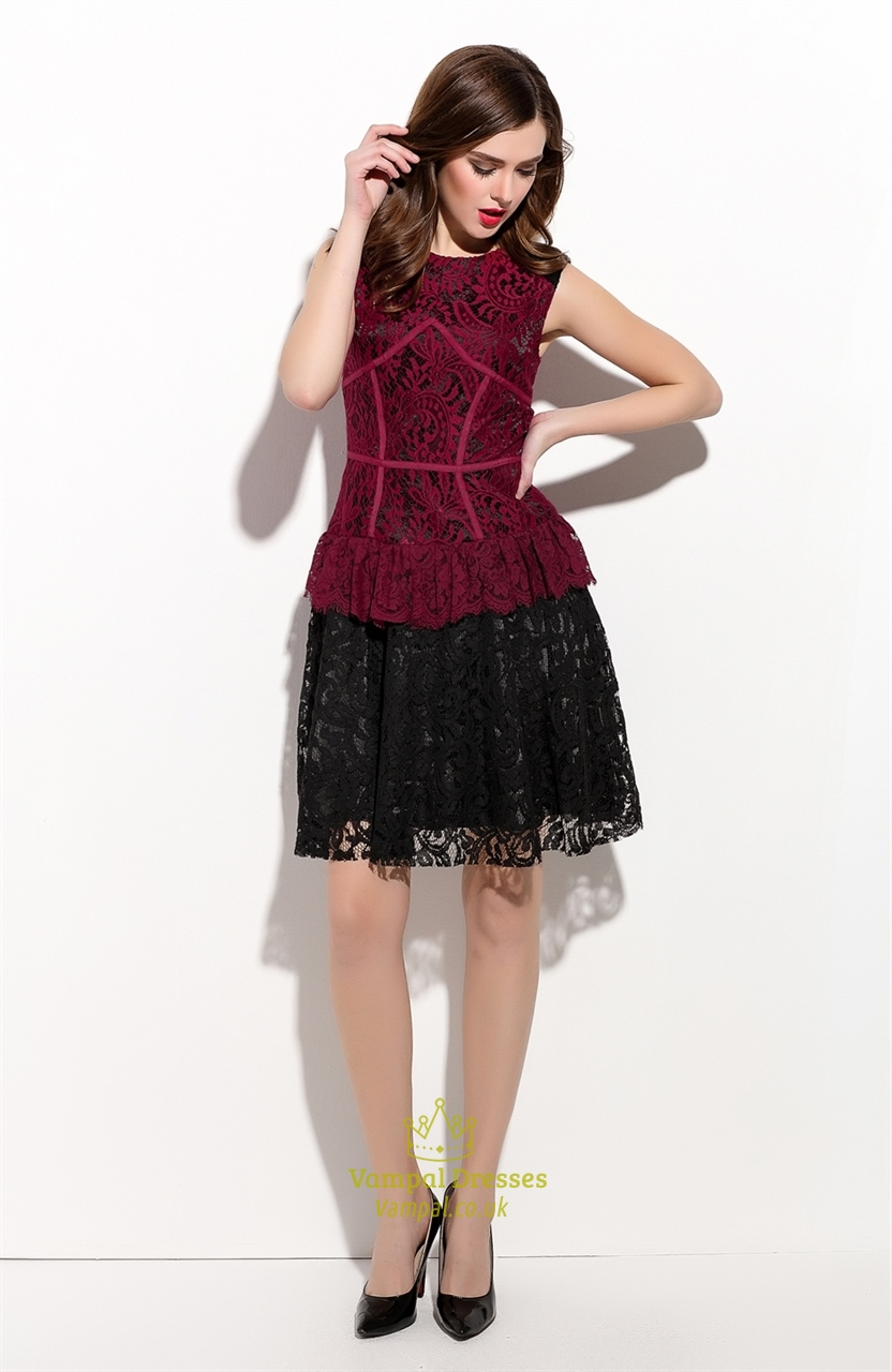 Red And Black Sleeveless Cocktail Dress With Lace Applique | Vampal ...