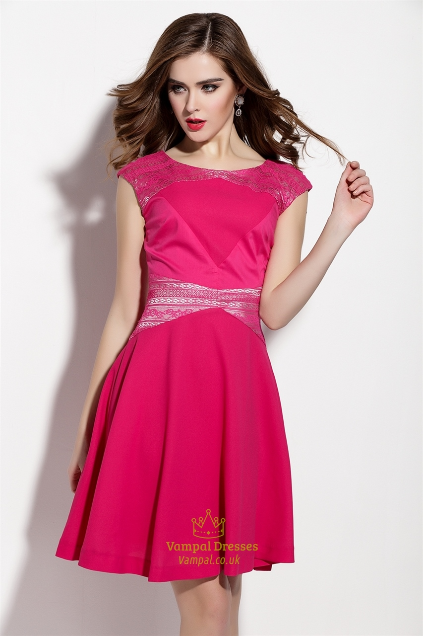 fuchsia sleeveless lace embellishment fit and flare casual