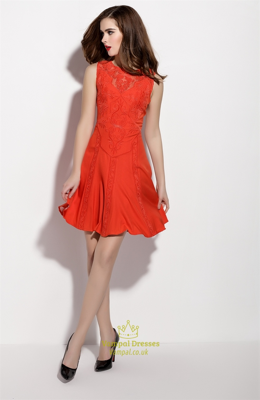 Orange Sleeveless Illusion Neckline Fit And Flare Skater