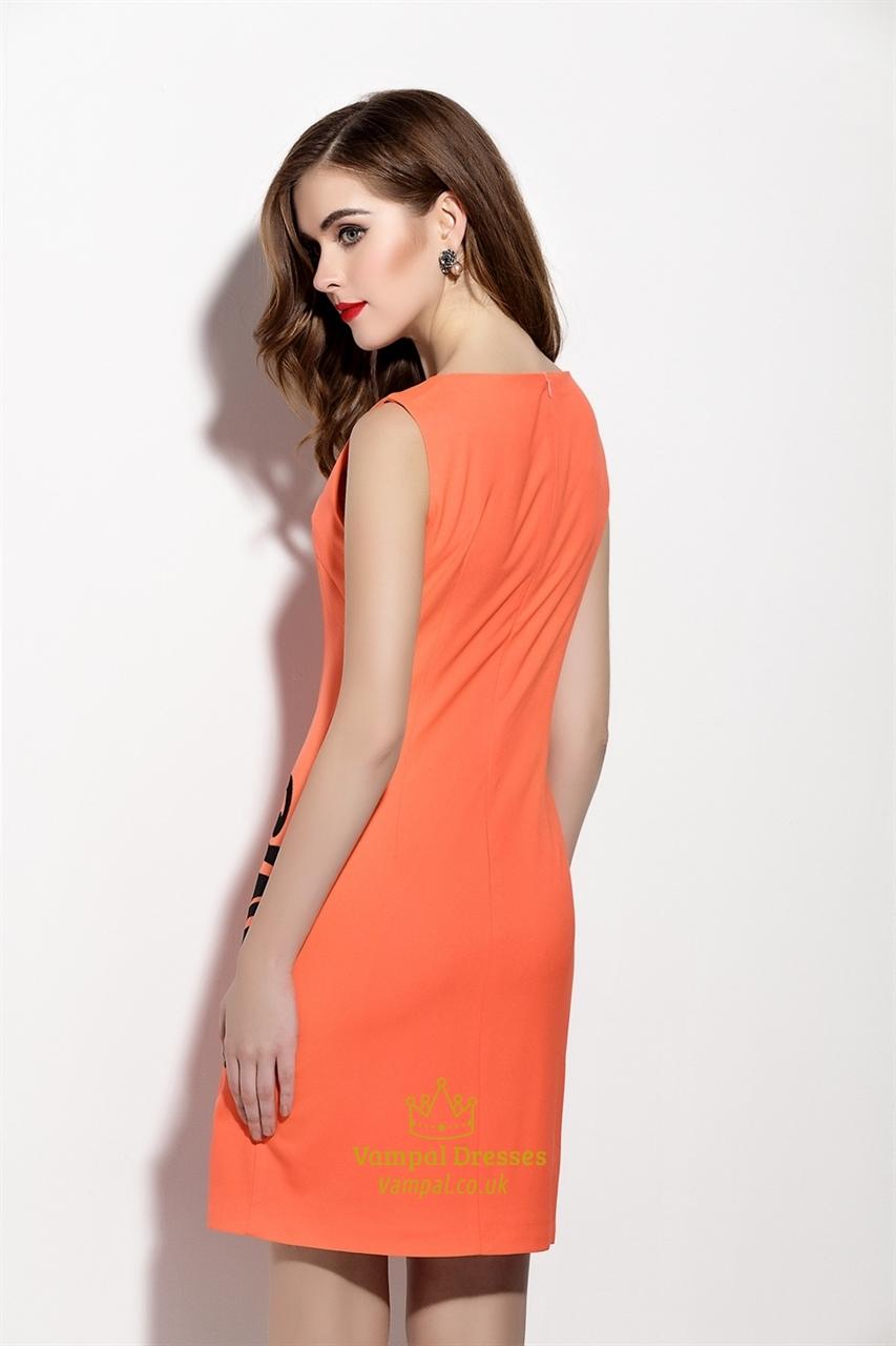 Orange Embroidery Sleeveless Sheath Cocktail Dress