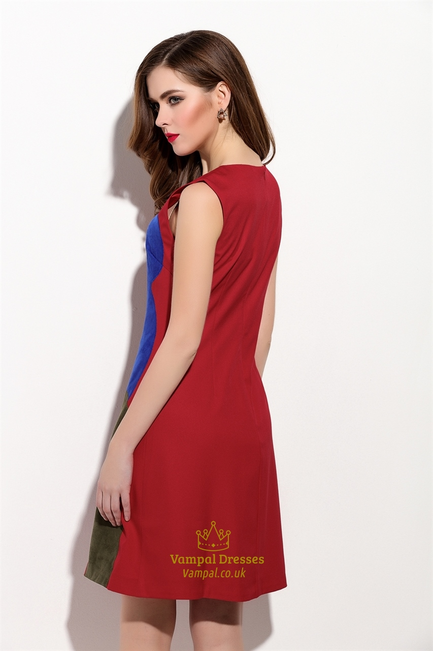 Red Sleeveless Embroidered Applique A Line Summer Dress