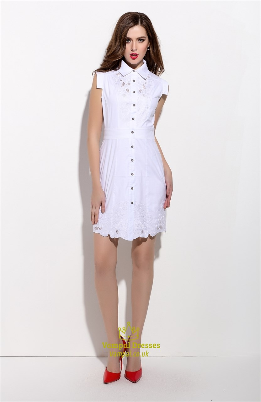 c46e449af677 Embroidered White Sleeveless Button Front T-Shirt Dress | Vampal Dresses