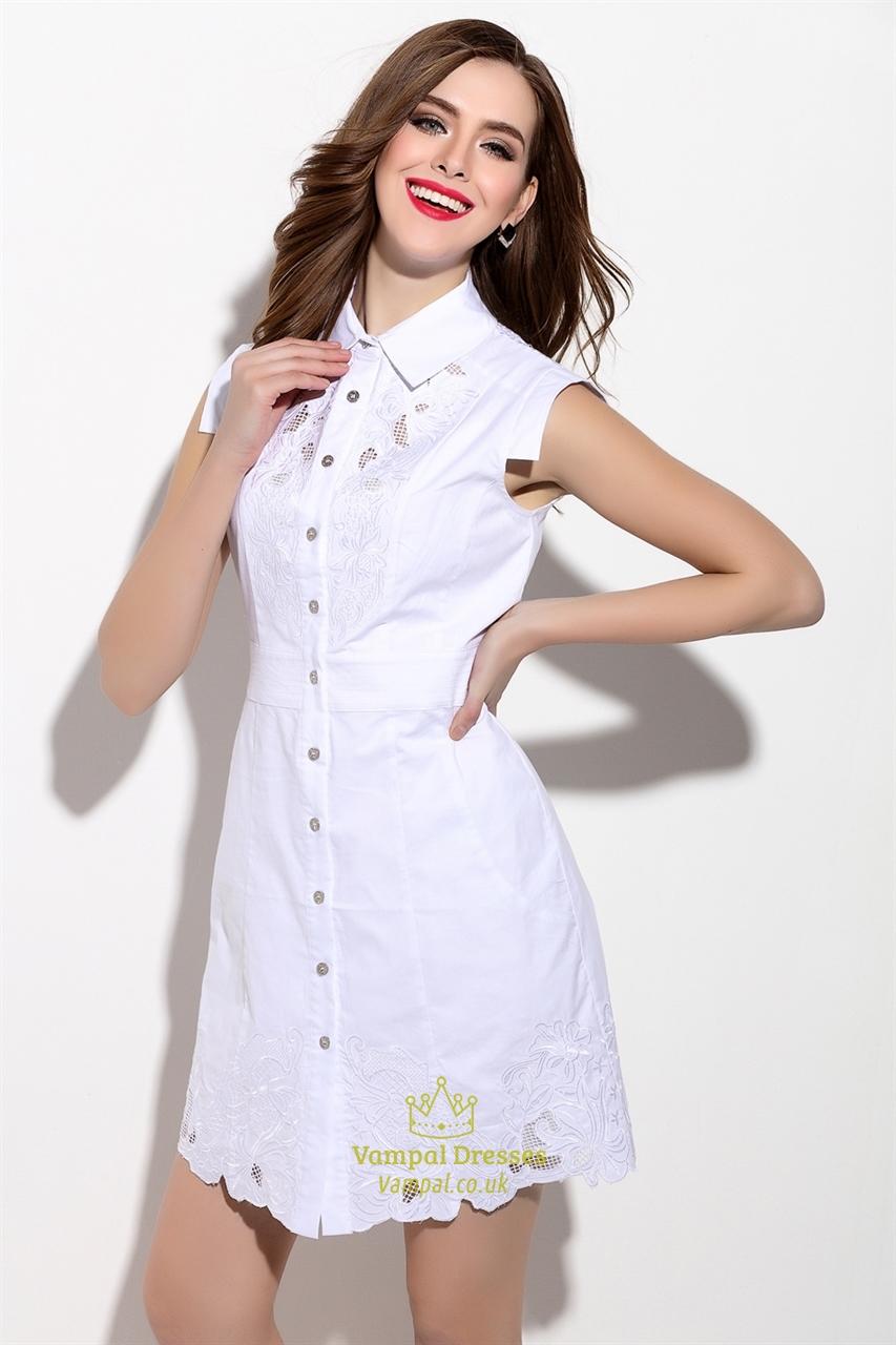 Embroidered white sleeveless button front t shirt dress for Sleeveless dress shirt womens