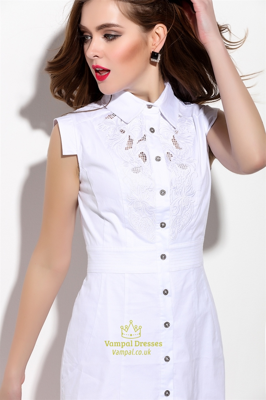 Embroidered White Sleeveless Button Front T Shirt Dress