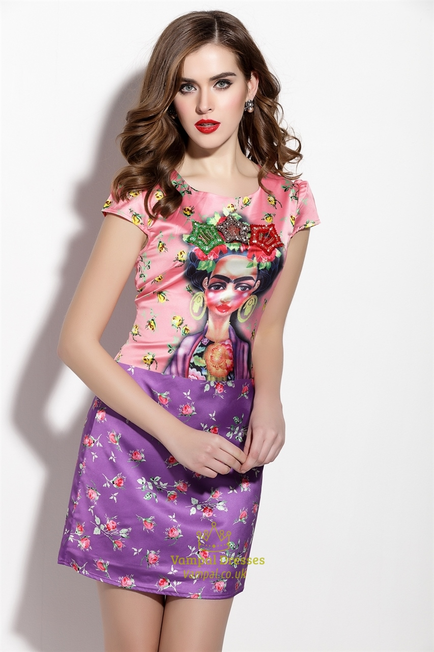 Pink And Purple Cap Sleeve Floral Print Sheath Cocktail