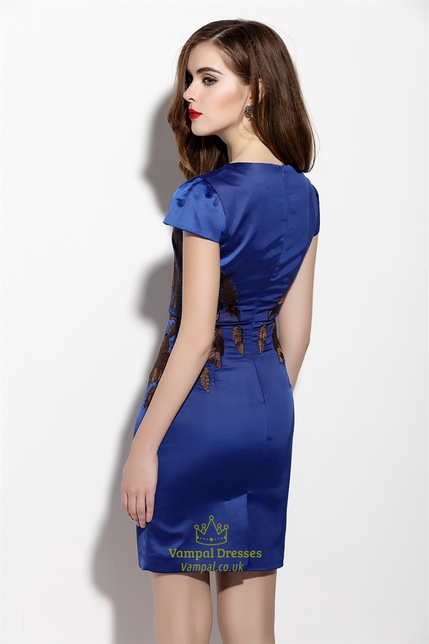 Navy Blue Embrodiered Sheath Cocktail Dress With Cap