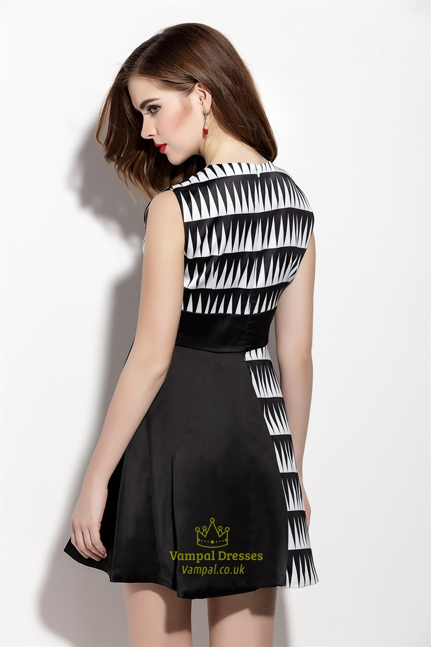 Black And White Sleeveless Fit And Flare Dress With Black
