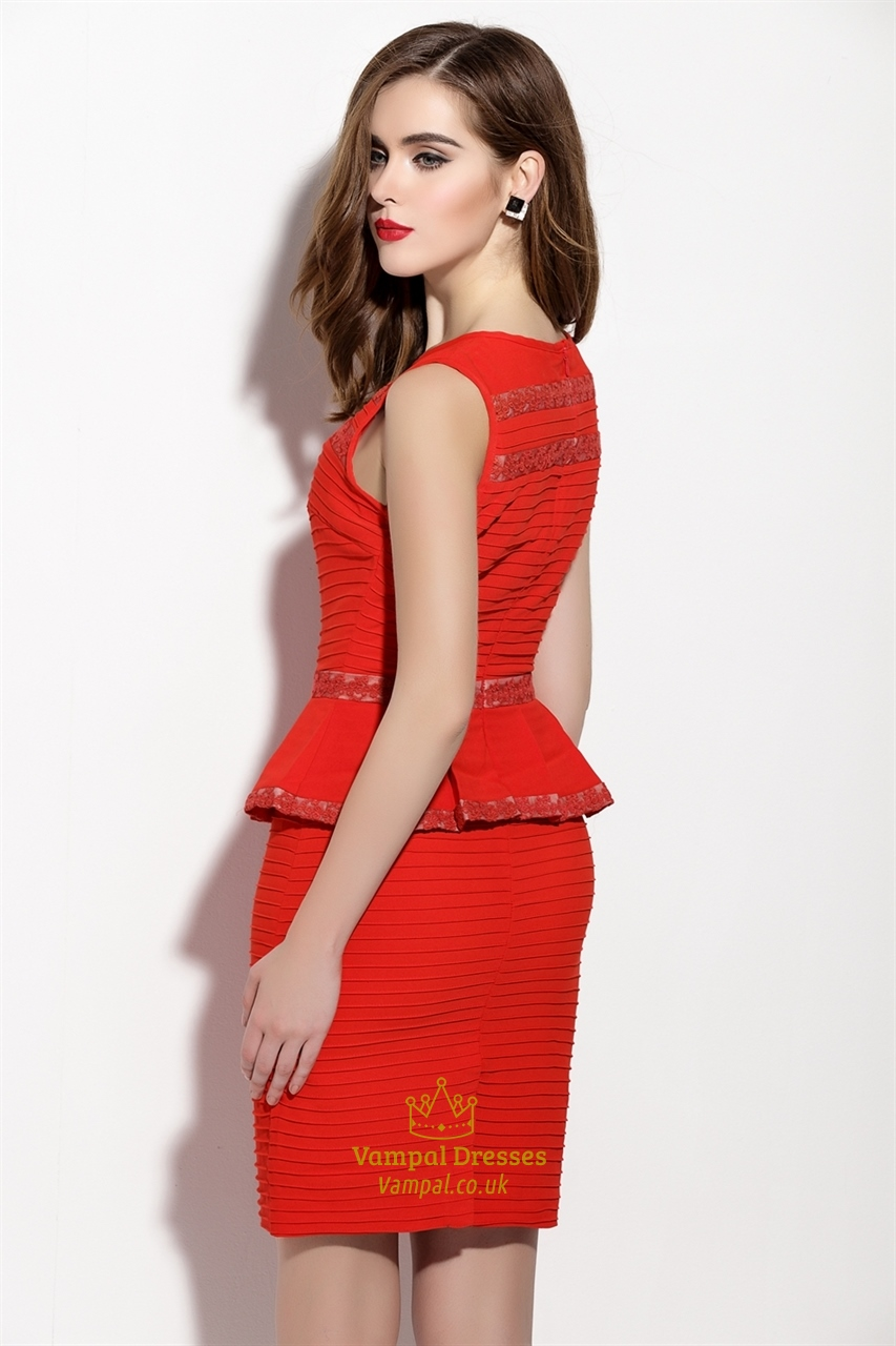 Red Lace Detail Ruched Short Sleeveless Peplum Dress ...
