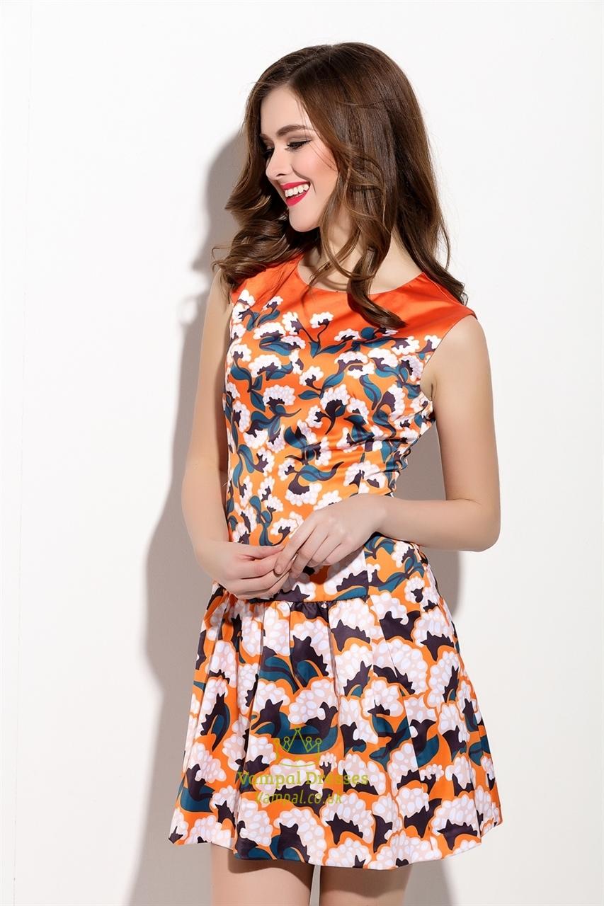 Casual Summer Orange Sleeveless Floral Print Skater Dress