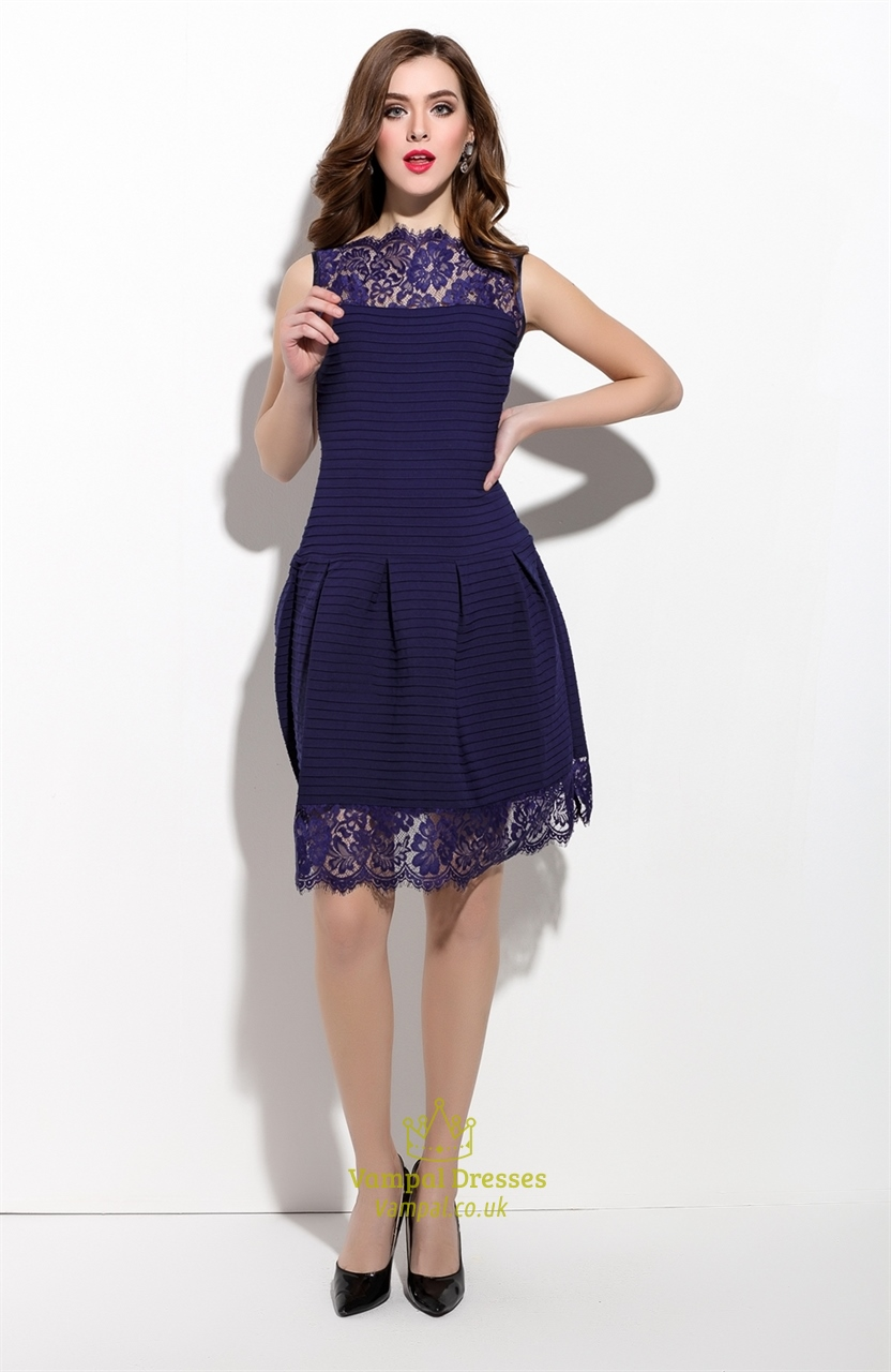 Navy Blue Sleeveless Illusion Neckline Dress With Lace