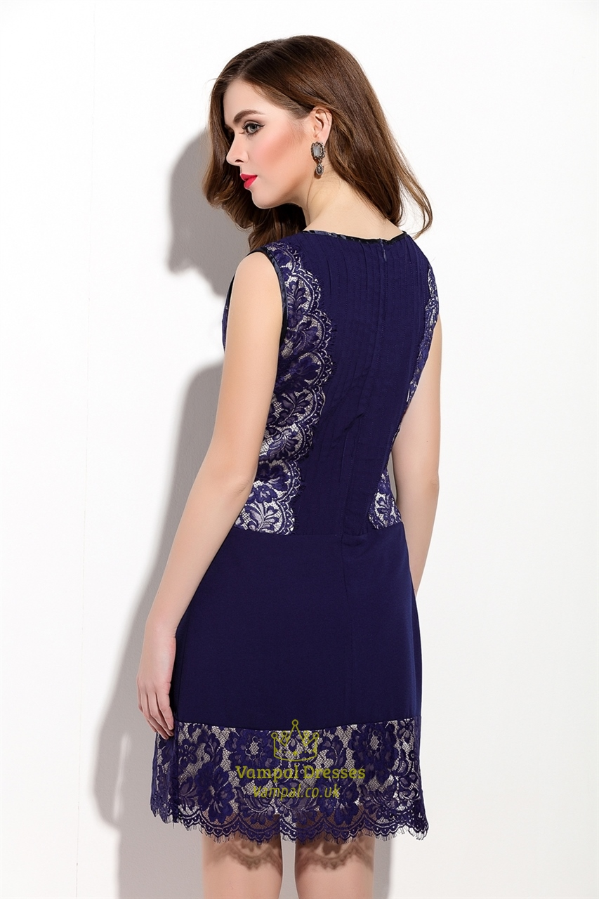 navy blue sleeveless ruched sheath dress with lace