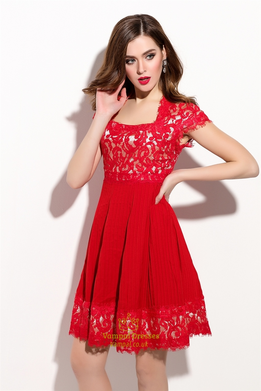 red square neck lace bodice cocktail dress with cap sleeve